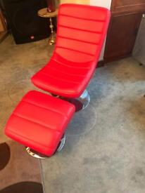 Red swivel chair + stool