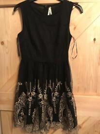 Blue Vanilla embroidered detail dress size small worn only once