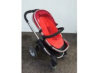 icandy apple red buggy with winter sleeping bag attachment and pram attachment