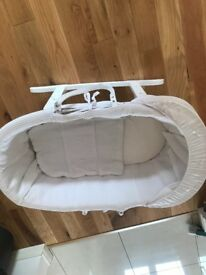 Clair De Lune White bassinet and rocking stand.