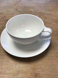 Fine Bone China White Cup & Saucer from John Lewis