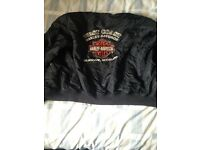 Harley Davidson bomber jacket(s), black in colour, two jackets medium and large