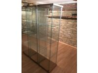Glass display cabinets. 3 different styles. Sold separately . Must clear by 24/8...