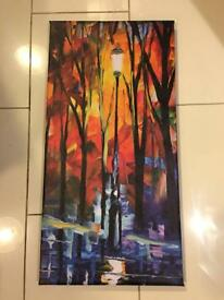Rainy atmospheric streetlight canvas