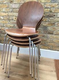 Made . com Kitsch stacking wooden dining room chairs