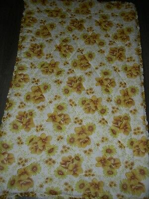 Vintage 60s 70s yellow flower power nylon single quilt camper van caravanning