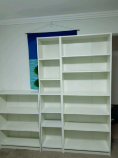 Officeworks set of three white bookcases