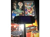 Sony psp with 4 games & charger