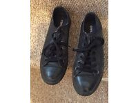 Black Converse all leather trainers size 6 £10