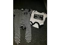 Funny set of.pyjamas and vest, 3-6 months