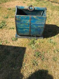 Antique log wooden basket