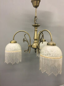 PAIR OF CEILING LIGHTS - 3 lamp lights with frosted glass and droplets (Great condition)