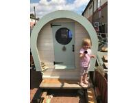 Kids bowtop caravan living wagon playhouse
