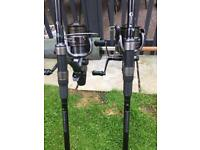 Fox warrior s carp rods x2 plus shimarno baitrunners