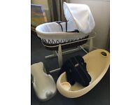Baby bundle. Moses basket with like new mattress, baby bath and bath seat and baby bjorn carry. £30