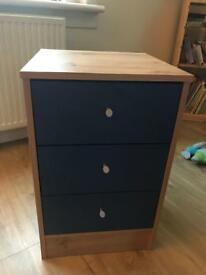 Pine and blue chest of drawers - fab condition
