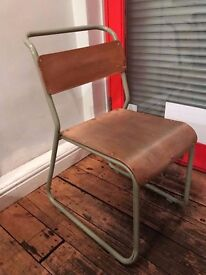 VINTAGE PLYWOOD STACKING CHAIRS INDUSTRIAL SCHOOL RETRO MID CENTURY OLIVE GREEN