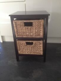 Dark wood side table with 2 basket drawers