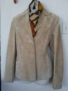 Oakville DANIER LEATHER JACKET Suede M size 12 Beige Medium Blanket stitch edge Silk Scarf Adrienne Vittadini Lk NU
