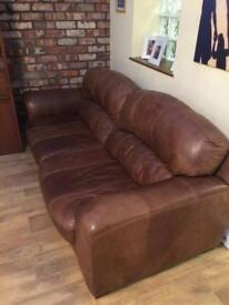 Modern brown leather 3 seater sofa