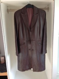 Chocolate brown Marks & Spencer 's leather coat (retail £250)