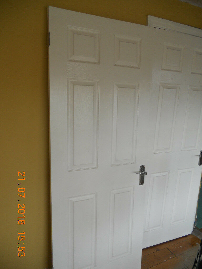 Two 6 Panel White Satin Finish Doors Complete With Chrome