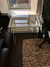 Glass desk with drawer