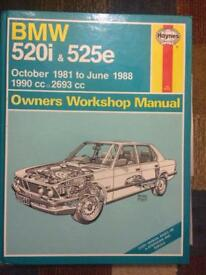 Car Owners Manual - BMW 520i & 525e For Sale (Good Condition)