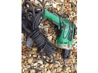 Hitachi Keyless Corded Drill 6.6-Amp 1/4-in Variable Speed Lightweight Tool-USED
