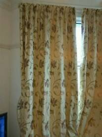 Set of four lined pencil pleat bay window curtains