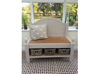 Solid pine monk's bench / settle / seat with storage under