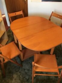 Dining table & 4 chairs - collapsible - great for limited space
