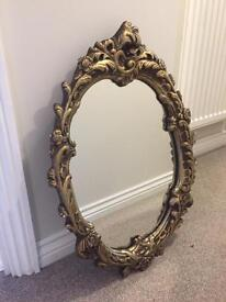 Beautiful Vintage Rococo Mirror Carved Plaster & Wood Oval - Antique Gold
