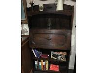 Splendid Antique Carved Solid Oak Slim-line Lockable Arts & Crafts Style Writing Bureau Bookshelf