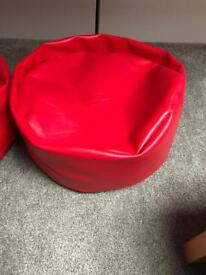 2x red kids bean bags