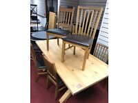 Solid Oak table and 6 wooden chairs (3 and 3 different chairs)