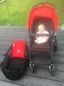 Bogaboo pushchair including transporting case and Cubex car seat with the adaptors