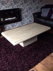 MATCHING MARBLE LAMP AND COFFEE TABLE SET