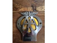 Vintage AA badge, for display in front bumper