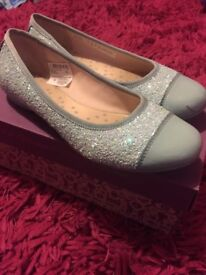 Ice blue girls pumps from clarks size 2F