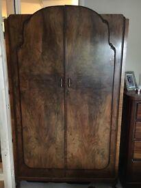 Wardrobe Antique vintage French style walnut wood wardrobe