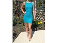 Backless Lipsy Turquoise Sparkly Size 6 dress