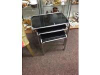 Retro / vintage 1970's glass topped chrome nest to tables