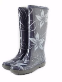Demar Wellington Boots for Women's, printed pattern - Hawai, grey flower, New