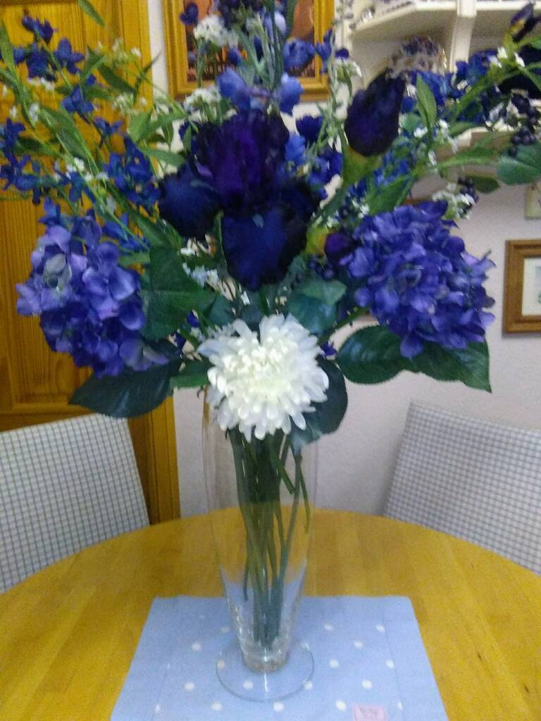 Collection Of Silk Everlasting Flowers In Shades Of Blues In