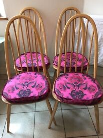 Beautiful set of four ERCOL Blonde Windsor chairs, with cushions