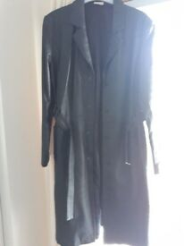Black real leather coat excellent condition