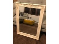 Large White Wooden Framed Mirror