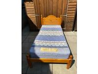 Single Pine Bed & Mattress - Can Deliver