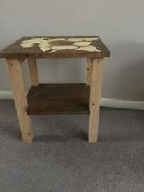 Upcycled solid wood side table